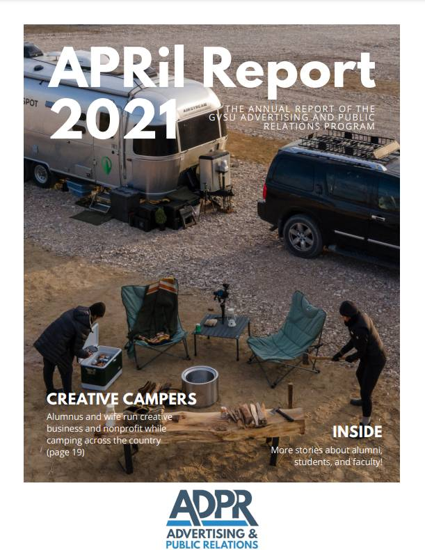Photo of and link to a PDF of our 2021 AdPR annual report, the APRil Report.